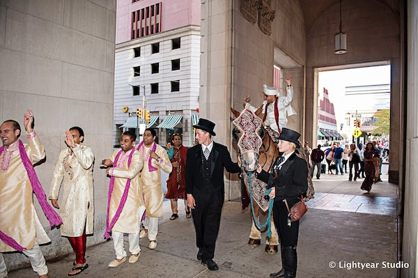 Downtown Philadelphia Indian wedding - Indian wedding - Philadelphia fusion wedding - Baraat - Indian groom on white horse