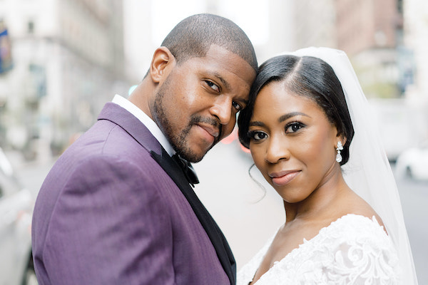 Black bride and groom at the Ritz Carlton Philadelphia on their wedding day